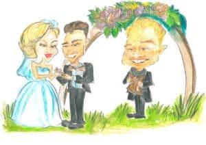 Karikatur einer Zeremonie in Bern, freie Trauung
